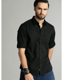 Black Solid Casual Shirt-CHLR(Similar Style)
