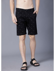 Black Printed Slim Fit Regular Shorts-CHLR(Similar Style)