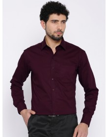 Burgundy Slim Fit Solid Formal Shirt-CHLR(Similar Style)