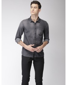 Charcoal Grey Denim Faded Casual Shirt -GG(similar style)