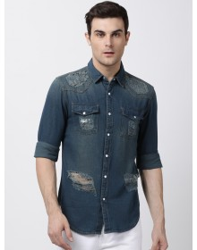 Blue Slim Fit Faded Ripped  Shirt-TW(similar style)