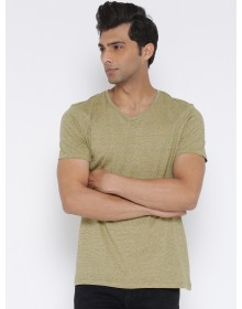 Beige V-Neck Solid T-Shirt-NPS (similar style)