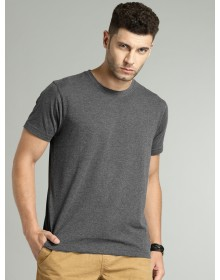 Charcoal Grey Round Neck Green T-Shirt-NPS(similar style)