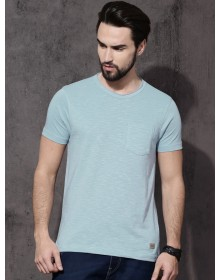 Blue Raw Edge Casual T-shirt- NPS(similar style)