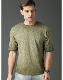 Olive Self Design T-Shirt(Similar Style)-NPS