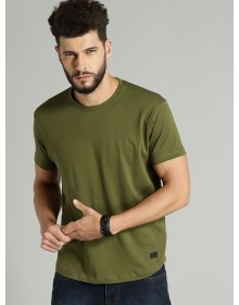 Olive Green Round Neck Casual T-shirt-NPS(similar style)