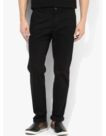 Indian Terrain Black Solid Chinos