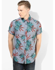 Jack & Jones Blue Printed Slim Fit Casual Shirt