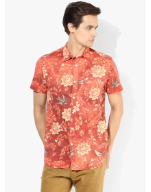 Jack & Jones Orange Printed Slim Fit Casual Shirt