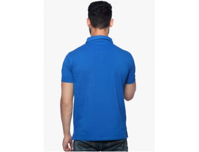 Blue Solid Polo T-Shirt By Nucode
