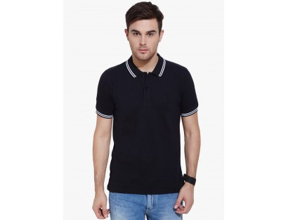 Black Solid Polo T-Shirt By Urban Nomad