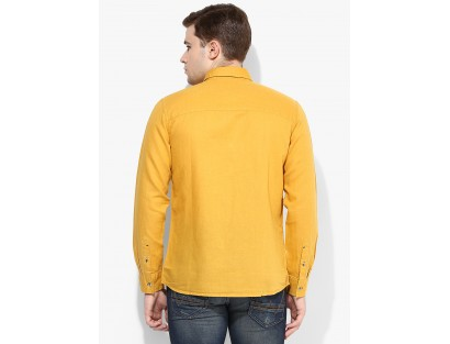7facda56863a89 Mustard Yellow Solid Casual Shirt By Wrangler