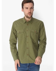 Solid Olive Casual Shirt By Slub
