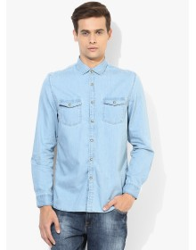 Lifestyle Light Blue Solid Casual Shirt By Fame Forever