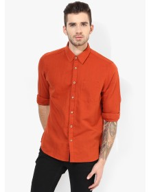 Orange Solid Slim Fit Casual Shirt By Numero Uno