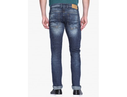Blue Mid Rise Slim Fit Jeans by Rookies