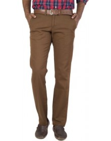 Regular Fit Brown Men's Trousers by Urbantouch