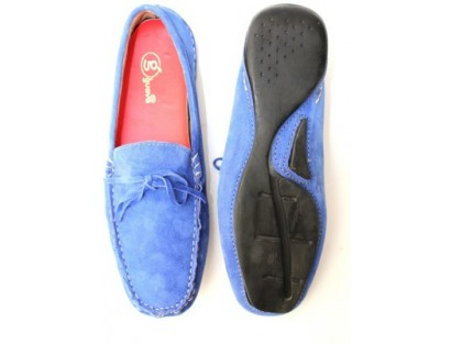 Guava Electric Blue Leather Loafers