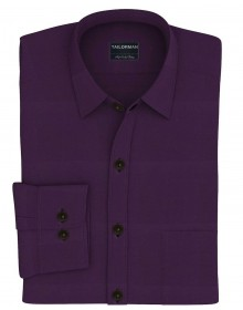Tailorman Men's Formal Solid Slim-Fit Shirt (Purple)