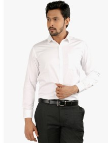 Oxemberg White Solid Slim Fit Formal Shirt