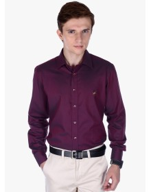 Frank Jefferson Wine Solid Slim Fit Formal Shirt