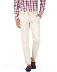 Basics Solid Beige Slim Fit Formal Trouser