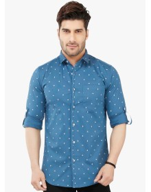 Blue Printed Casual Shirt By Nick & Jess