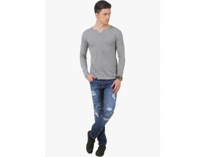 Grey Milange Solid Henley T-Shirt By Frost