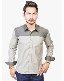 Grey Solid Casual Shirt By Trendster