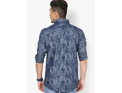 Blue Printed Casual Shirt By Ripfly