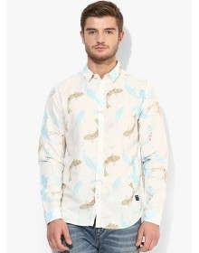 Beige Printed Slim Fit Casual Shirt By Jack & Jones