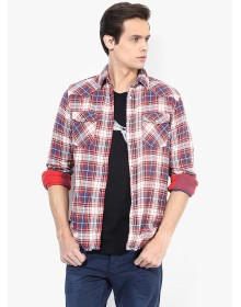 Maroon Checks Slim Fit Casual Shirt By Jack & Jones