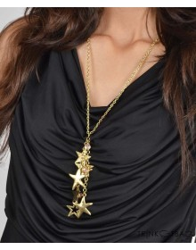 Golden Stars Long Chain Pendant
