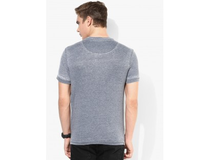 Blue Solid Henley T-Shirt By Being Human