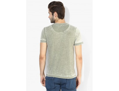 Olive Solid Henley T-Shirt By Being Human