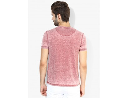 Red Solid Henley T-Shirt By Being Human