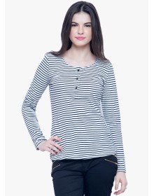 White Striped T Shirt by Faballey