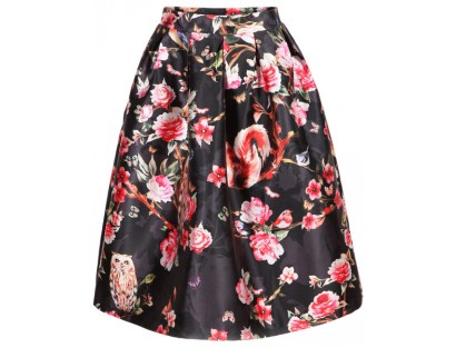 Floral Print Flare Skirt