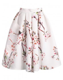 Floral Pleated White Skirt