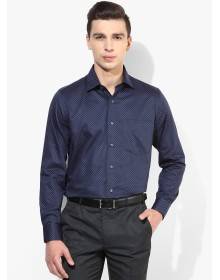 Navy Blue Printed Slim Fit Formal Shirt by Van Heusen
