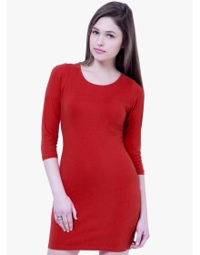 Red Coloured Solid Bodycon Dress by Faballey