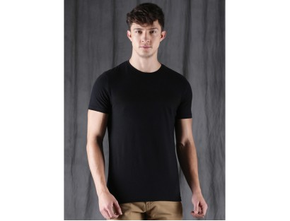 Wrogn Black Round Neck T-Shirt