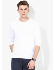 Gas White Solid Round Neck T-Shirt