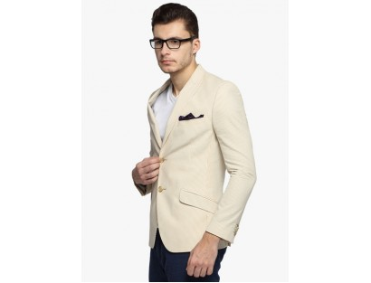 Beige Striped Blazer By Suitltd