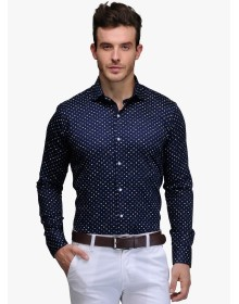 Edjoe Blue Printed Slim Fit Casual Shirt