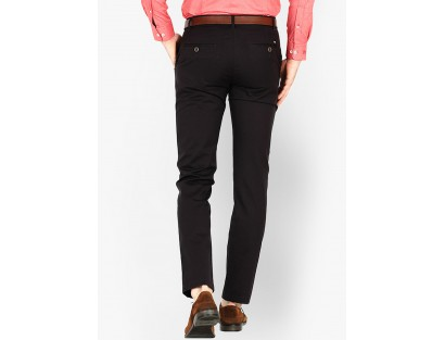 Basics Solid Brown Slim Fit Formal Trouser