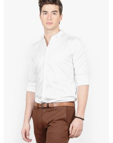 Basics Solid White Slim Fit Casual Shirt