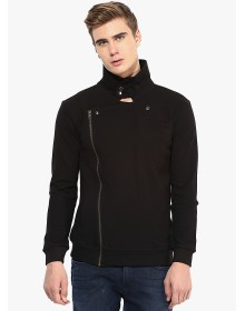 Black Solid Casual Jacket By Hypernation