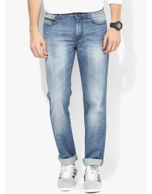 Blue Washed Regular Fit Jeans by Route 66