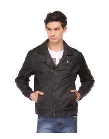 Black Full Sleeve Leather Casual Jacket